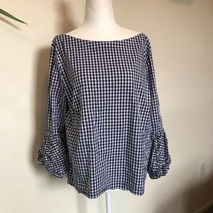 Laundry by Shelli Segal Gingham Puffy Sleeve Top